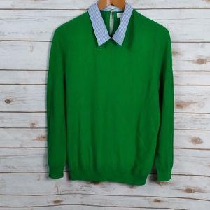 J Crew Sweater Collar Prep Knit Woven Keyhole